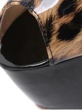 Peep Toe Leopard Printed Stiletto Platform Heels