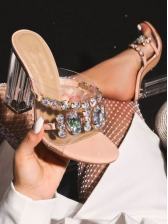 Gemstone Studded Clear Heel Designer Slippers