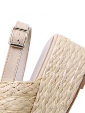 Slingback Straw Weaving Platform Sandals