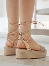 Rhinestone Lace Up Womens Wedge Sandals