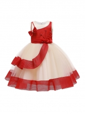 Crew Neck Sleeveless Studded Flower Girl Dresses