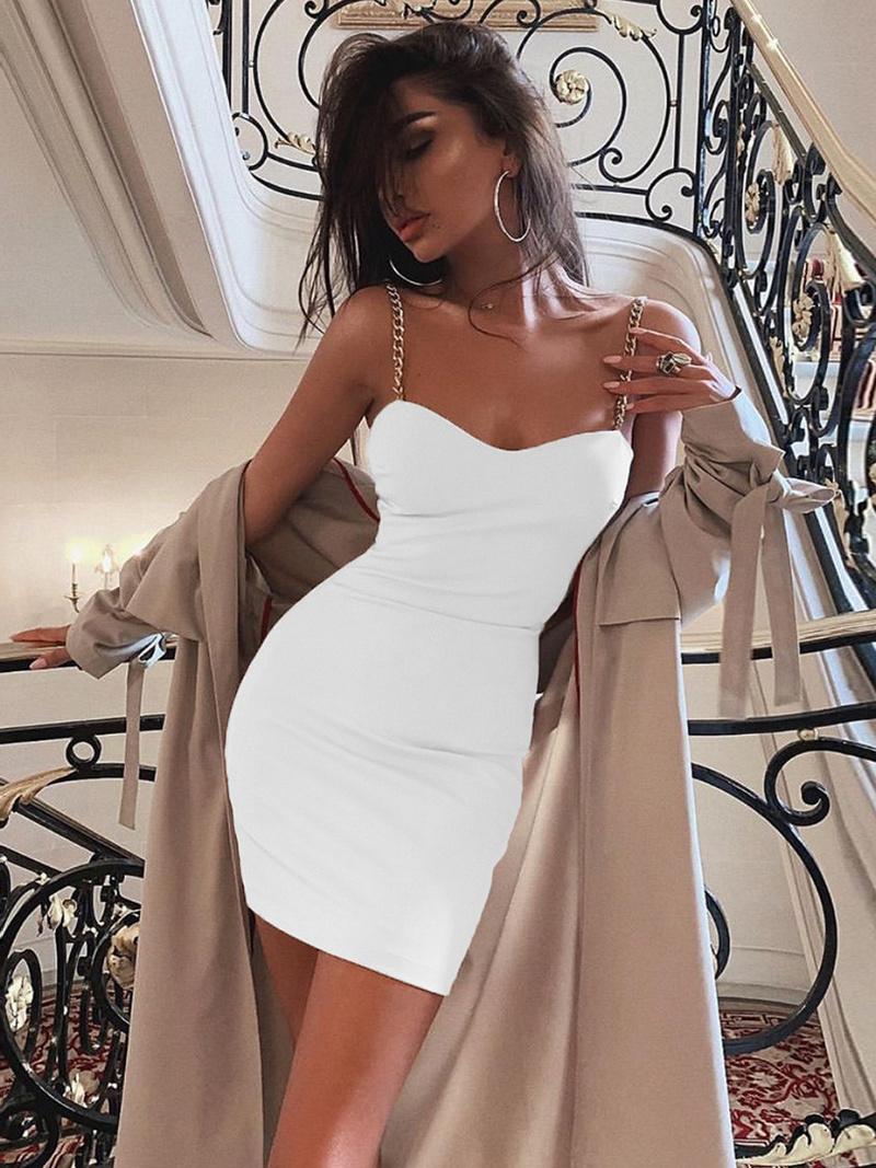 Sexy Chain Strap Sleeveless Bodycon Dress