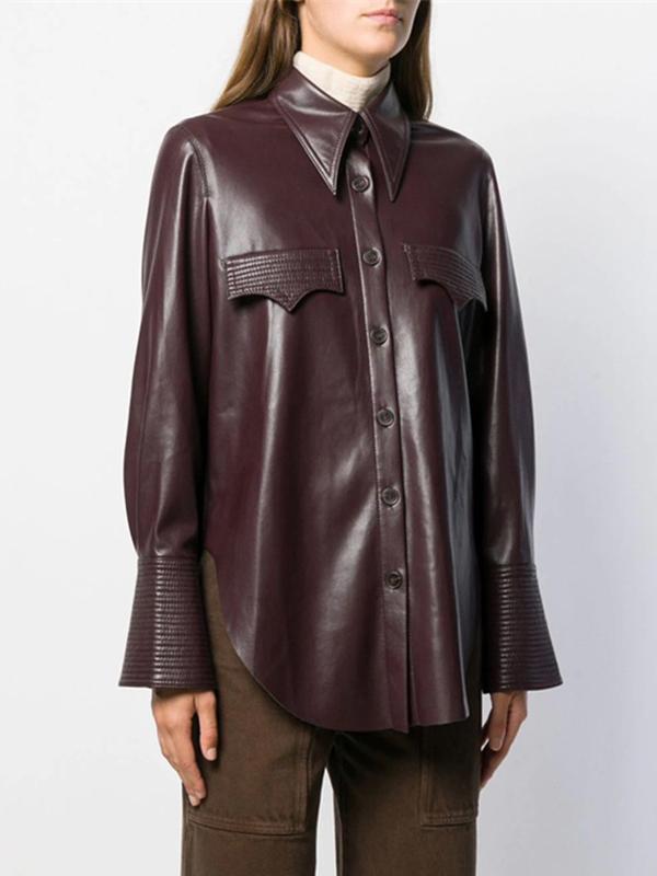 Turndown Neck Long Sleeve Leather Blouse