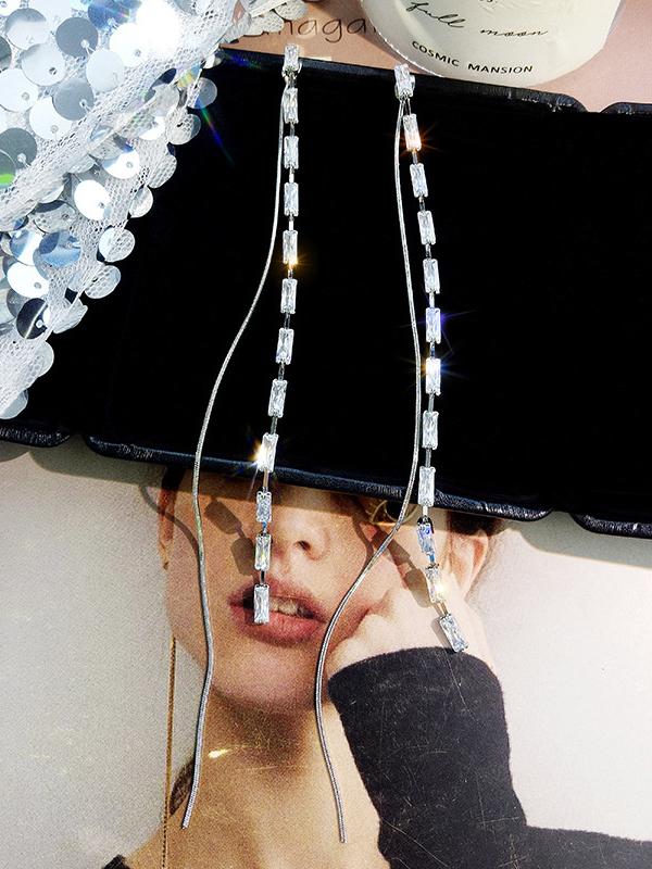 Simple Geometric Zircon Long Earrings