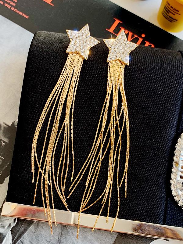 Elegant Rhinestone Star Tassel Earrings
