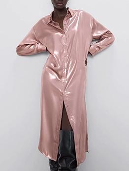 Pure Color Button Down Shirt Ladies Dress