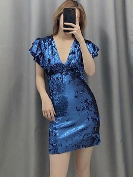 Stylish v Neck Sequin Short Sleeve Dress