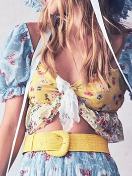 Contrast Color Floral Cropped Bow Blouse