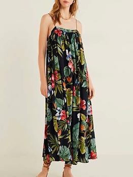 Botanic Print Slip Maxi Dresses For Women
