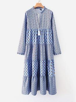Geometric Print Long Sleeve Casual Maxi Dresses