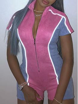 Contrast Color Front Zipper Short Sleeve Romper