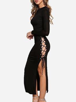 High Split Hem Solid Long Sleeve Maxi Dress
