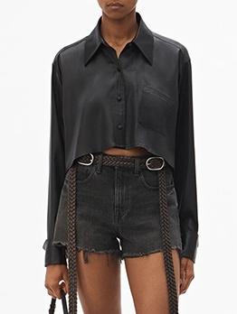 Silk Irregular Hem Short Black Blouse