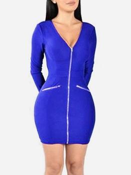 Deep V Neck Zipper Long Sleeve Bodycon Dress