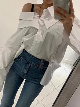 Chic Cutout Shoulder Solid Ladies Blouse