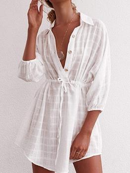 Smart Waist White Long Sleeve Shirt Dress