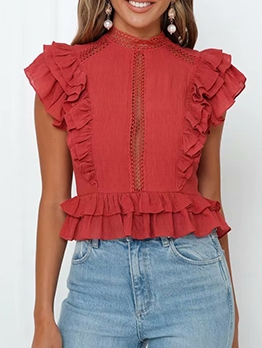 Hollow Out Ruffled Short Sleeve Blouse