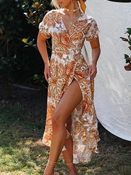 Vintage Print Asymmetric Hem Slit Maxi Dresses