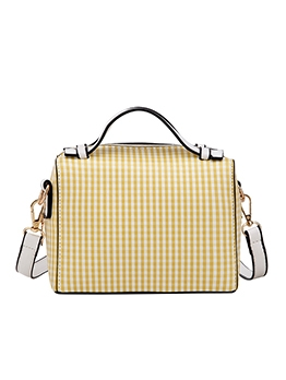 Classic Plaid Ladies Shoulder Bag With Double Handle