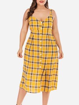 Single-Breasted Plaid Slip Plus Size Dresses
