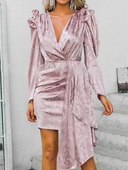 Deep V Neck Irregular Puff Sleeve Blush Dress