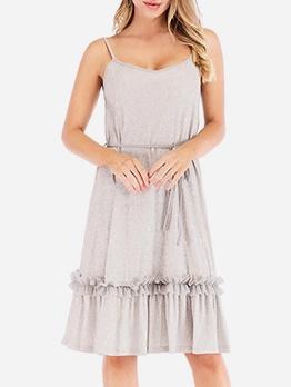 Casual Solid StringySelvedge Slip Ladies Dress