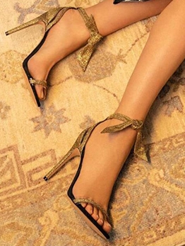 Ankle Bow Stiletto Fashion Sandals