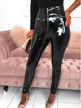 Trendy High Waist Skinny Leather Pants