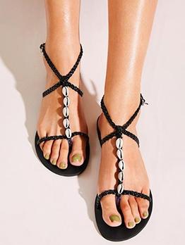Black Shell Decor T Strap Beach Sandals