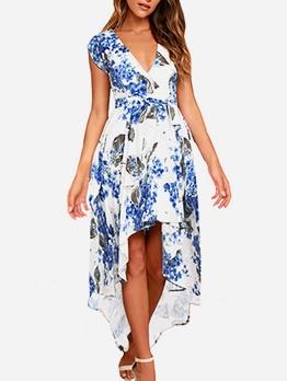 Asymmetric Hem v Neck Short Sleeve Maxi Dress