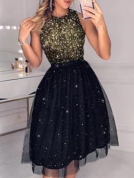 Gauze Sequin Decor Sleeveless Ladies Dress