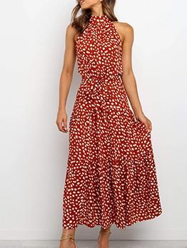 Chic Dots Tie-Wrap Sleeveless Maxi Dress