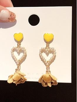 Heart Sequined Flower Drop Earrings