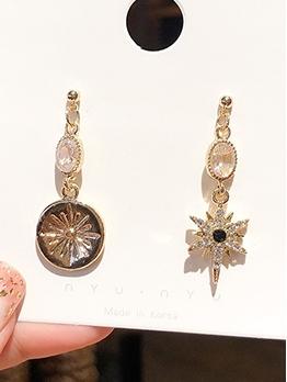 Elegant Hexagram Flower Asymmetric Drop Earrings