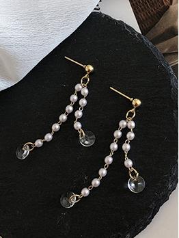 Easy Matching Zircon Beading Tassel Earrings