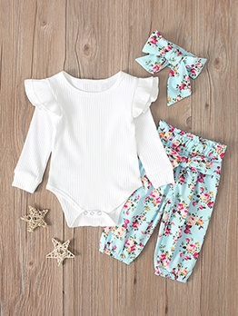 Solid Romper With Floral Pants Newborn Set