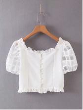 White Cropped Stringy Selvedge White Blouse