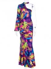 Color Block Inclined One Shoulder Slit Maxi Dresses