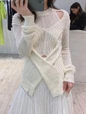 Cross Design Cutout Sweaters For Women