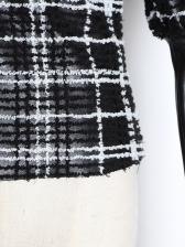 Patchwork Detachable Bow Plaid Puff Sleeve Blouse