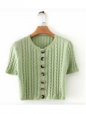 Solid Short Sleeve Knit Fitted Cropped T Shirt