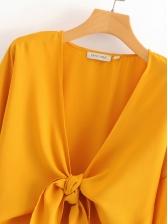 Vacation V Neck Flare Sleeve Ruffled Yellow Blouse