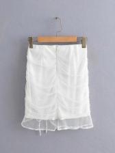 Twist Crop Top Drawstring Two Piece Skirt Set