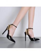 Ruffled Decor Black Wedding Sandals
