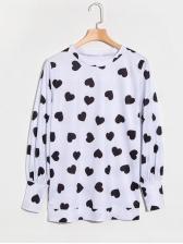 Heart Print Crew Neck Cheap T Shirts
