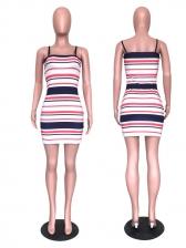 Contrast Color Striped Slip Midi Ladies Dress