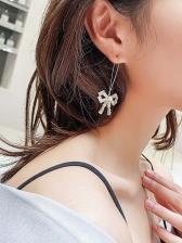 Sparkly Zircon Bow Long Earrings