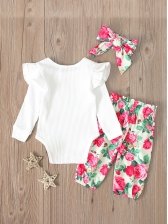 Casual Romper With Floral Pants Newborn Baby Set