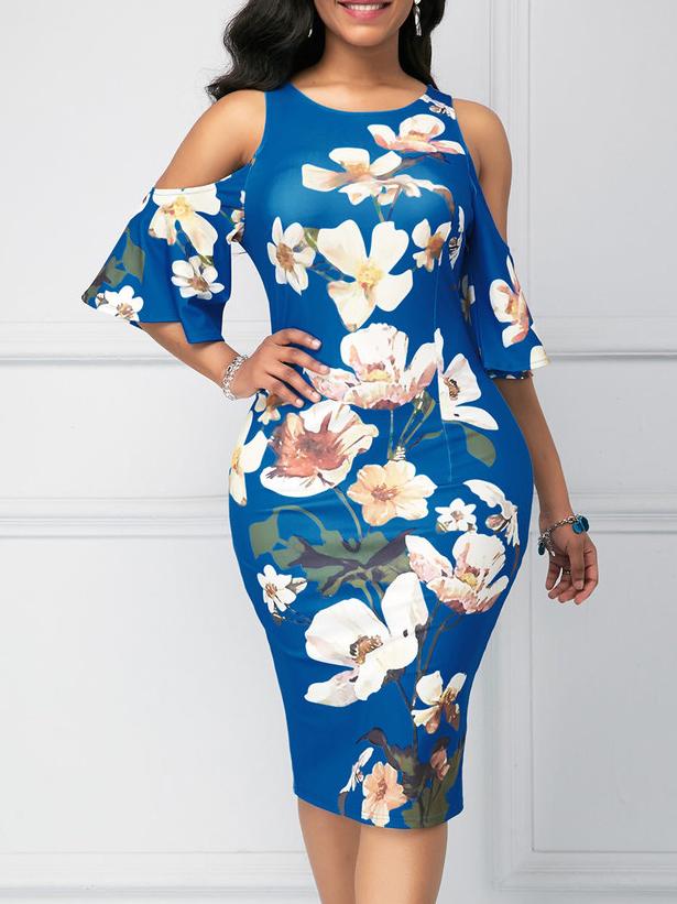 Cold Shoulder Floral Plus Size Bodycon Dress