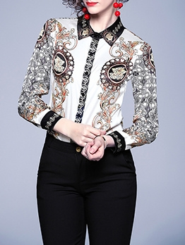 Retro Printing Single Breasted Long Sleeve Blouse